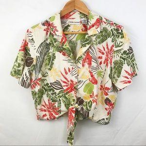 m hawaiian tie front crop top